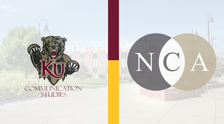 NCA Logo and COM Studies Logo against a picture of the campus