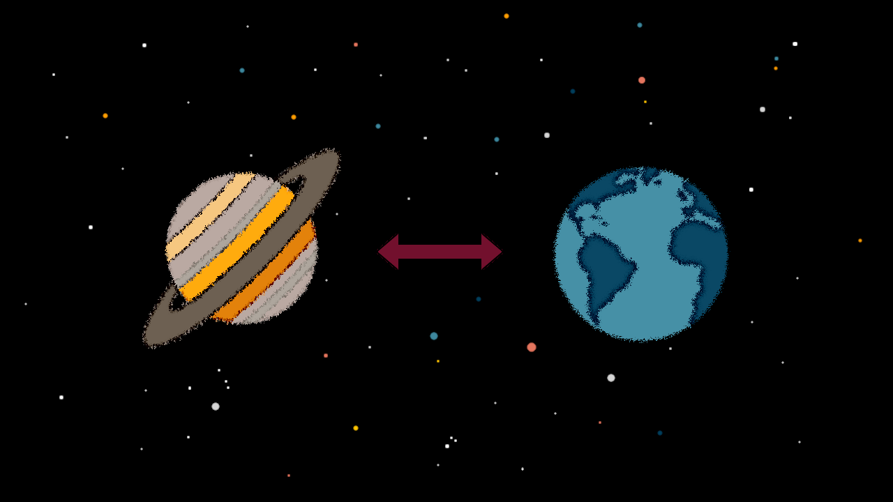 "Cartoon image of planets Earth and Saturn with ""social distance"" arrow between them."