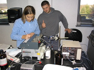 Students conducting an experiment in the lab.