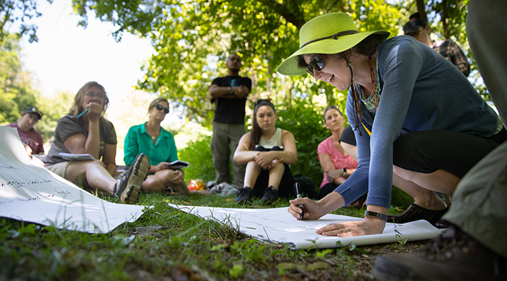 KU professor teaching art course in park