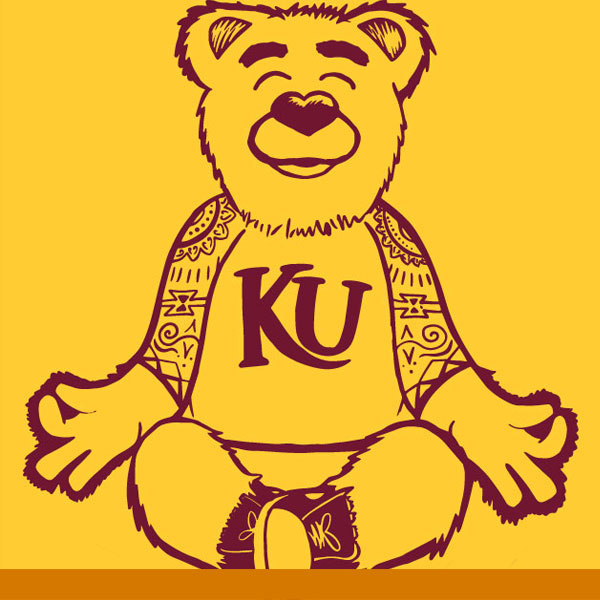 an illustration of avalanche our golden bear mascot seated in an om yoga position. Maroon outlined illustration on a spirit gold background