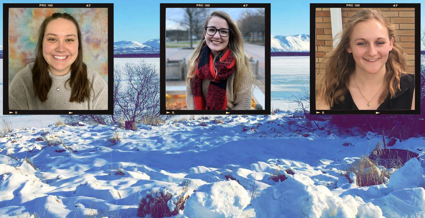 photos of three KU students, inset above snowy Alaskan fields.