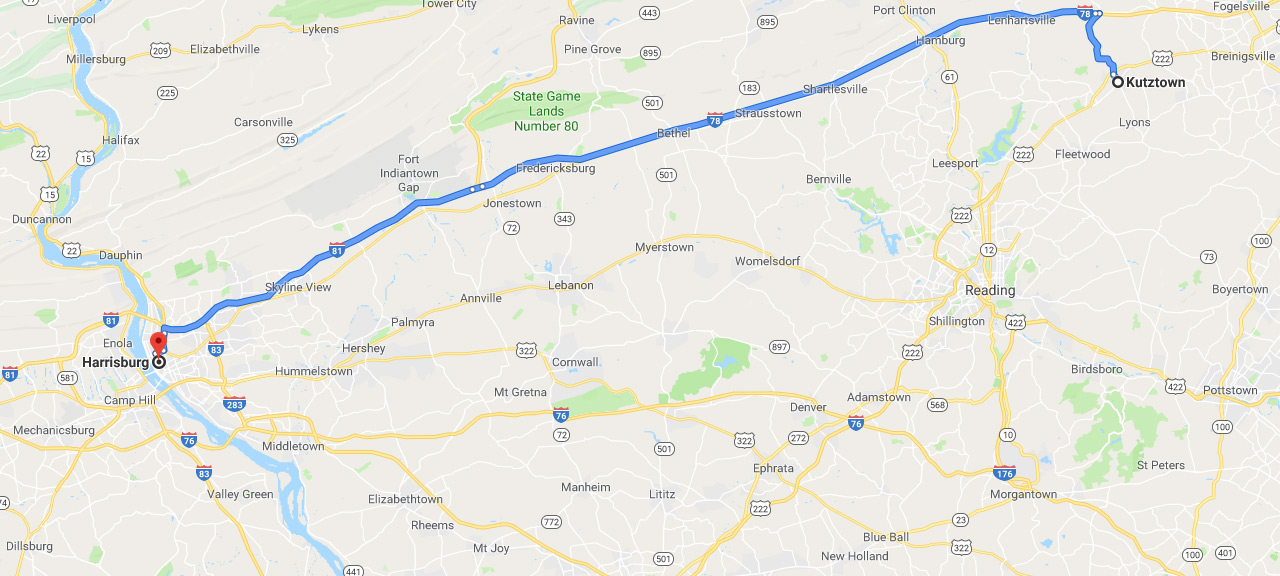 Map showing route from Kutztown to Harrisburg