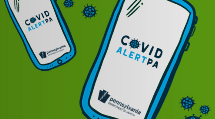 Graphic: mobile phone display wiht Covid Alert Pa App open