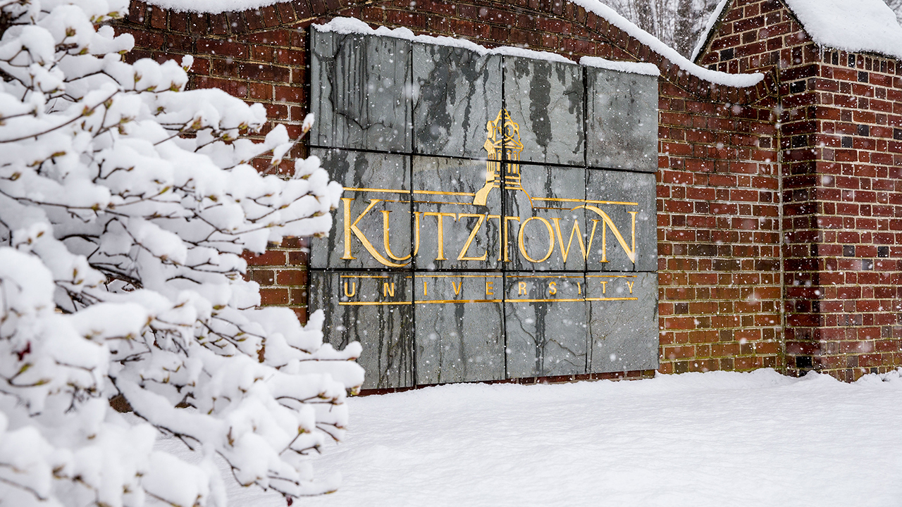 Kutztown sign in winter snow